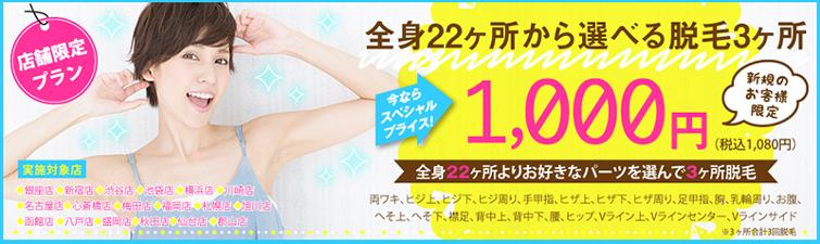 【全身22ヶ所から選べる脱毛】3ヶ所1,000円